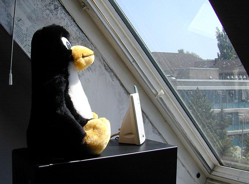 Zum ersten Mal nonstop online: Tux wacht über die Funkbrücke ins Internet